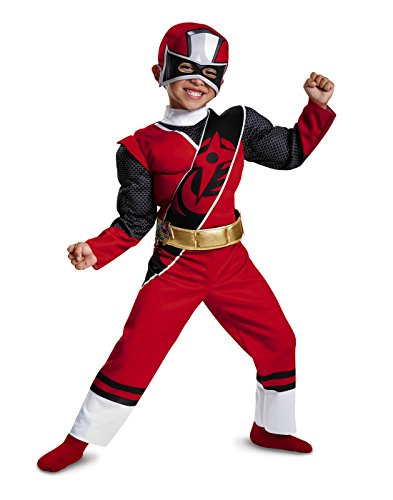 Power Rangers Ninja Steel Toddler Muscle Costume, Red, Medium (3T-4T) - Boys Red Power Ranger Costumes