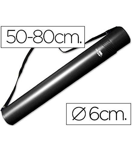 LIDERPAPEL - Tubo portadisegni in plastica, diametro 6 cm, allungabile fino a 80 cm, colore: nero 936140