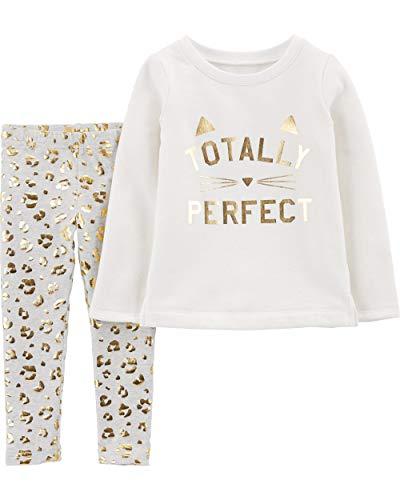 (Carter's Baby Girls' 2-Piece Top and Leggings Sets (Vanilla/Leopard/Fleece, 4T))