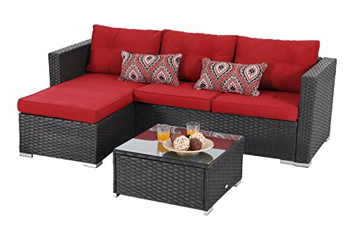 919633e2eb56 PHI VILLA 3 Piece New Outdoor Furniture Sectional Sofa Patio Set Upgrade Rattan  Wicker, Red