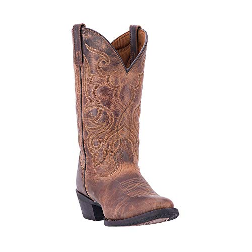 Laredo Women's 11'' Maddie Distressed Round Toe Western Casual Boots, Tan Leather, 11 W