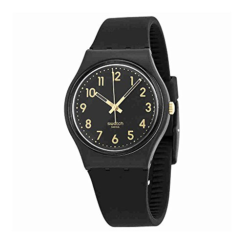 Swatch Watch - Swatch GB274 Golden Tac Black Gold Analog Dial Silicone Strap Unisex Watch NEW