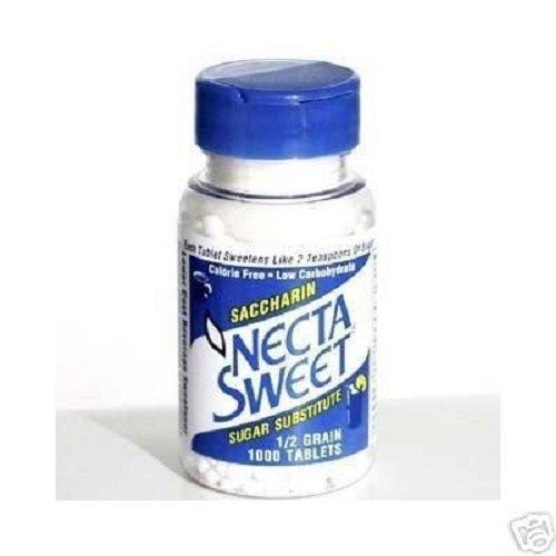 Necta Sweet Saccharin Tablets, 1/2 Grain, 1000 Tablet Bottle (Pack of 15)