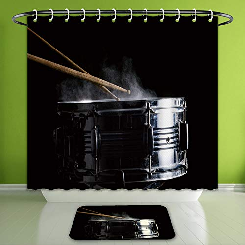 Waterproof Shower Curtain and Bath Rug Set Drum Sticks Hit On The Snare Drum in Black Background Close Up Low Key Bath Curtain and Doormat Suit for Bathroom Extra Long Size 72