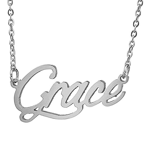 HUAN XUN Stainless Steel Mood Feeling Words Name Necklace, Grace