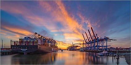 Lienzo 100 x 50 cm: Sunset at the container terminal Hamburg Waltershof de Heiko Mundel - cuadro terminado, cuadro sobre bastidor, lámina terminada sobre lienzo auténtico, impresión en lienzo