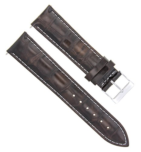 17-18-19-20-21-22-23-24MM Leather Watch Band Strap for Emporio Armani White ()