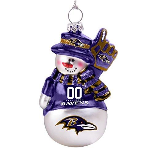 NFL Ravens Glitter Snowman Ornament