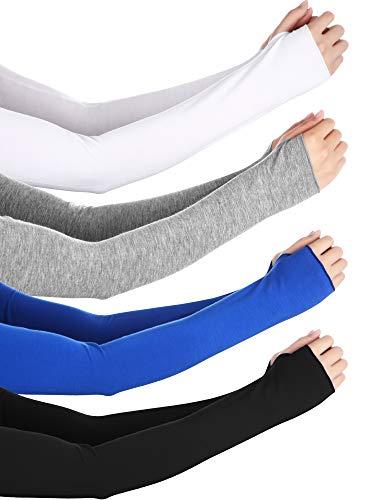 Bememo UV Protection Gloves Wrist Length Sun Block Driving Gloves Unisex Fingerless Glove (Color Set 9, Elbow length)