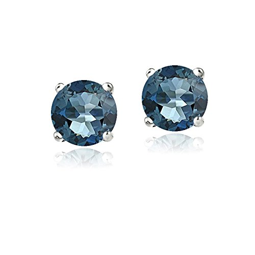 White Topaz Gemstone Earrings (Bria lou 14k White Gold Round-Cut London Blue Topaz 6mm Solitaire Gemstone Stud Earrings (2.1ct TGW))