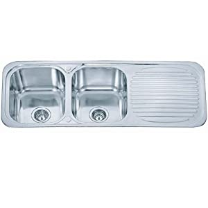 Double Bowl Kitchen Sink With Drainer : Stainless Steel Inset Kitchen Sink Double Bowl With Drainer & Wastes ...