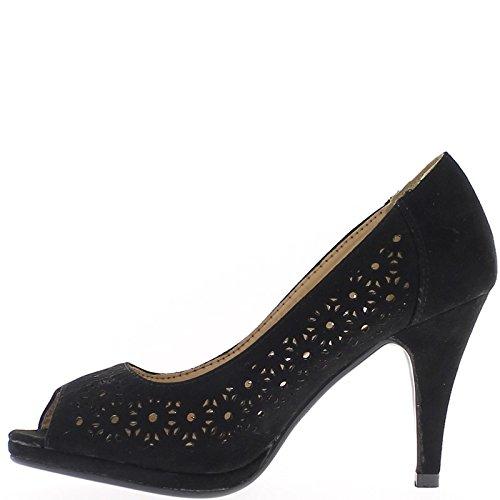 Negro de bombas abierta zapatos de tacón 9 cm y bandeja