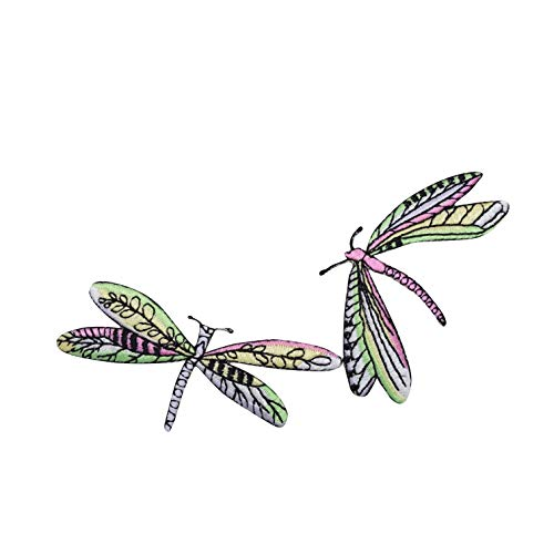 - Two Dragonfly Dragonflies Lime and Pink Iron on Embroidered Applique Patch