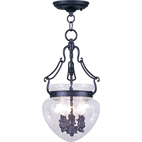 Livex Lighting 5041-04 Flush Mount with Clear Water Glass Shades, Black