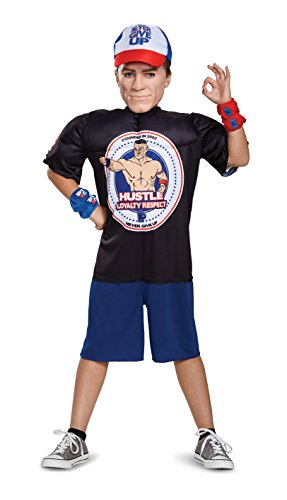 John Cena Classic Muscle WWE Costume, Black, Medium (Wwe Childrens Halloween Costumes)