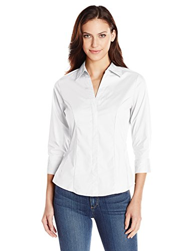 Riders by Lee Indigo Women's Bella 3/4 Sleeve Woven Shirt, Arctic White, Small