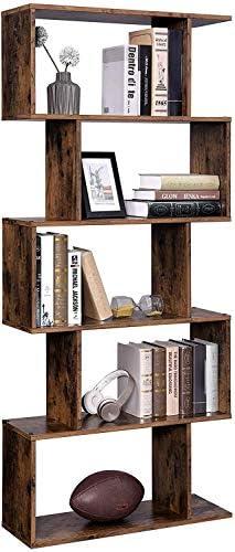 Geometric Bookcase 5 Tier Wood Bookshelf Book Shelf Tall Modern Bookcase Bookshelf Vintage Rustic Wooden Bookshelf Bookcase Book Shelf