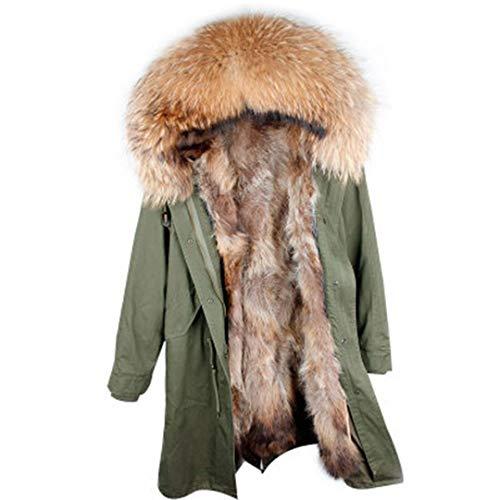 Real Fur Parka Men Winter Jacket Real Raccoon Fur Hooded Coats Nature Raccoon Dog Lining Jacket Man Real Fur Coat Green L