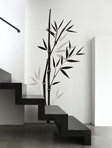 Large Bamboo Tree Stalks Vinyl Wall Decal Decor Stickers (Black-Grey, 80