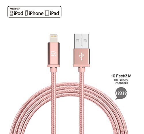 iPhone Charger Lightning Cable - [MFi Certified] Durable Braided Apple Lightning USB Cord for latest iOS including iPhone 7/7Plus/IPad Pro (10 Feet) – Rose (Cord Rose)