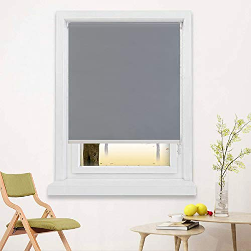 Blackout Window Shades for Bedroom,Room Darkening Blinds Black Out,Window Roller Shades with Back in White to Waterproof,Thermal for Privacy Bathroom and Kitchen[Gray 100% Blackout,W34xH60(Inch)]