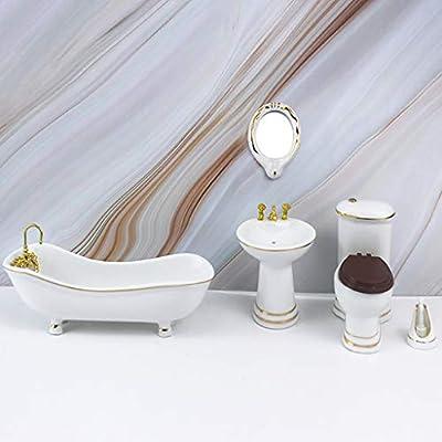 Amazon Com Aliturtle Miniature Dollhouse Bathroom Set Decoration Pretend Play Scene Model 1 12 Scale Mini Size Emulation Diy Doll House Furniture And Accessories Bathtub Washbasin Mirror Toilet Brush Sports