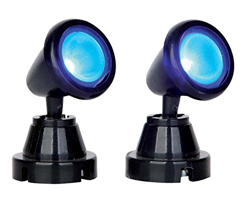 (Lemax Village Collection Round Spot Light Blue Set of 2 Battery Operated #)