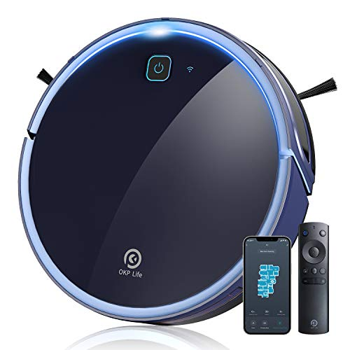 Robot Vacuum Cleaner Zigzag Clean Pattern 600ml Large Dustbin Robotic Vacuum Cleaner, App Control Wi-Fi Connectivity Works with Alexa, Self-Charging Robovac for Home Pet Hair Floor and Carpets