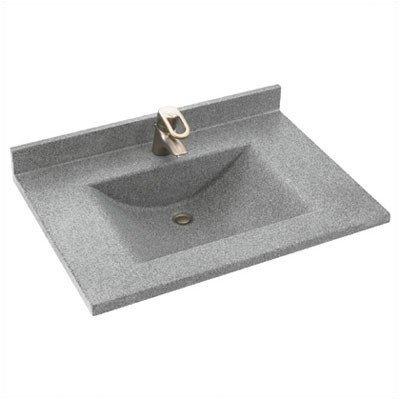 (Swanstone CV02225.040 Contour Solid Surface Single-Bowl Vanity Top, 25-in L X 22-in H X 6.25-in H, Bermuda)