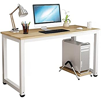 gootrades Computer Desk,47'' Sturdy Office Study Writing Table,Modern Simple Style PC Workstation for Home Office,Walnut+White Leg