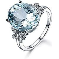 Meolin Rhinestone Butterfly Ring Natural Topaz Stone Crystal Engagement Ring Charm Gemstone Ring Women Jewelry (Size/ 6/7/8/9/10),Sea Blue,Size 7