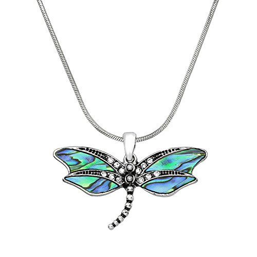 Falari Dragonfly Pendant Necklace Rhinestone Crystal Rhodium High Polished (Style 4- Abalone)
