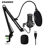 Aokeo AK-70 Professional USB Streaming Podcast PC Microphone With AK-35 Suspension Scissor Arm Stand, Shock Mount, Pop Filter, Foam Cover, for Skype YouTuber Karaoke Gaming Recording