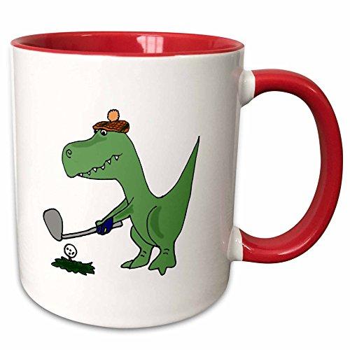 (3dRose All Smiles Art Dinosaurs - Funny Green Trex Dinosaur Playing Golf - 11oz Two-Tone Red Mug (mug_203784_5))