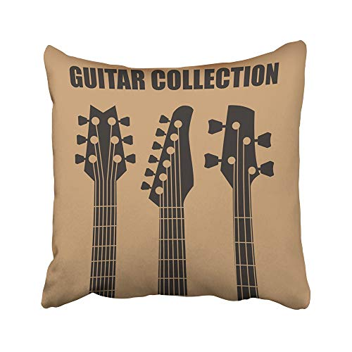 Emvency Decorative Throw Pillow Covers Cases Neck Guitars Music Retro Electric Blues Acoustic Bass Entertainment 20X20 Inches Pillowcases Case Cover Cushion Two Sided ()