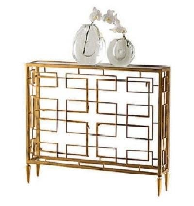 Modern Geometric Open Gold Console Table | Grid Mid Century
