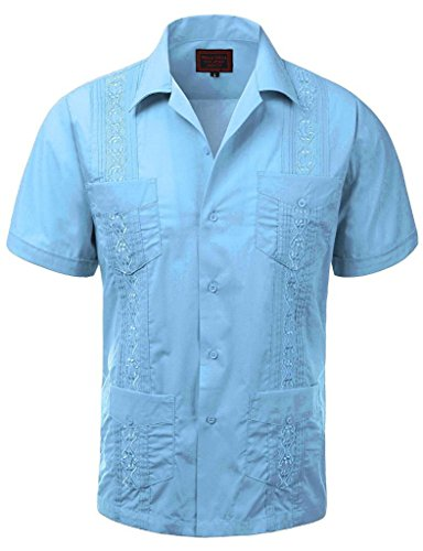 vkwear Guayabera Men's Cuban Beach Wedding Short Sleeve Button-up Casual Dress Shirt (X-Large, Light Blue) by vkwear
