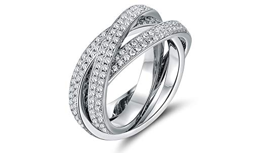 ruilinyang 18K White Gold and Cubic Zirconia 3 Row Rolling Ring(Multi-Color,Size 10)