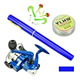 Multi Outools Pen Fishing Pole 38 Inch Mini Pocket Fishing Rod and Reel Combos Travel Fishing Rod Set for Ice Fly Fishing Sea Saltwater Freshwater, Gift for Festivals (Blue)