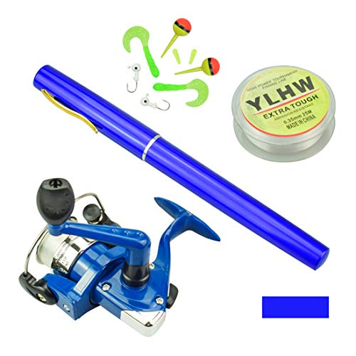 Multi Outools Pen Fishing Pole 38 Inch Mini Pocket Fishing Rod and Reel Combos Travel Fishing Rod Set for Ice Fly Fishing Sea Saltwater Freshwater, Gift for Festivals (Blue) (Best Ice Fishing Pole)