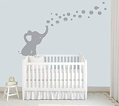 Elephant Blowing Bubbles Wall Decal Vinyl Wall Sticker Baby Nursery Decor Kids Room Wall Stickers, Grey