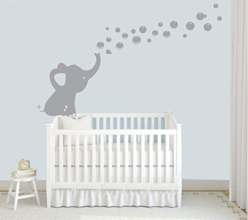Elephant-Blowing-Bubbles-Wall-Decal-Vinyl-Wall-Sticker-Baby-Nursery-Decor-Kids-Room-Wall-Stickers-Grey