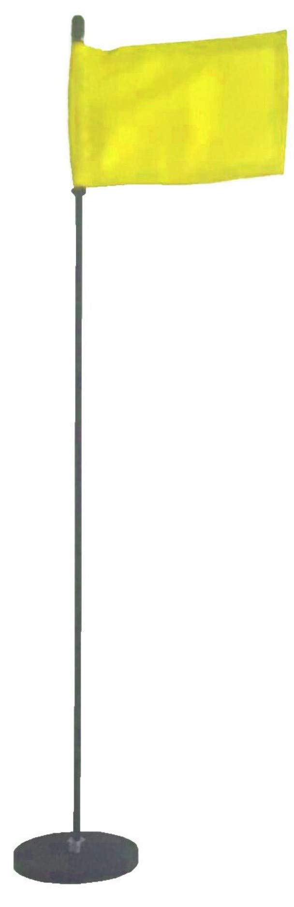 Magnetic Base Flag Holder - Hold Force 44 lbs. Flex Steel Spring Pole 16 inch (4 x 6) Yellow Flag