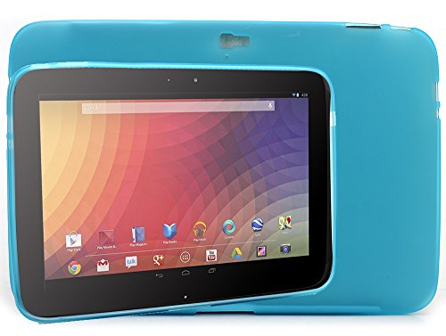 - KroO TPU Rubber Silicone Bumper Skin Case for Google Nexus 10 [Frost Blue]