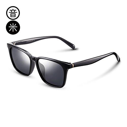 Frame Negro cuadrados hembra KOMNY Gafas Black marco gafas de Gray pionero Gafas grande sol cara de hombres gris polarización wqg46xT