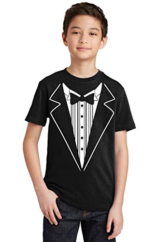 P&B Tuxedo White Funny Youth T-Shirt, Youth L, Black