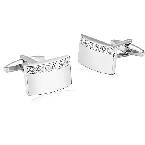 Bishilin Cubic Zirconia Stainless Steel Arch Rectangle Shirt Cufflinks for Mens Silver White