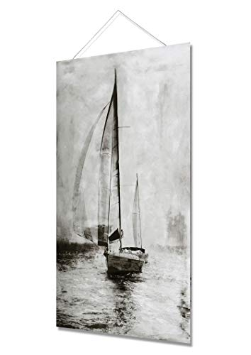 Fox Art Oil Paintings Original Canvas Prints Wall Art Brown Sailing Boats Seascape Hand Painted Ships Wood Scroll Paintings for Living Room and Bedroom Wire Sling Installed Ready to Hang 32x48 ()