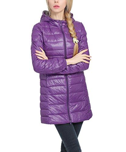 (Wancy Down Jackets for Women Hooded Long Puffer Down Coat Lightweight Packable Winter Outerwear Plus Size Purple 3X-Large)