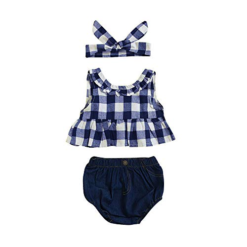 Toddler Baby Girl Outfit,Crytech Plaid Ruffle Sleeveless Bowknot Tank Top Denim Short Pants with Bow Headband for Newborn Infant Kids Photoshoot Beach Summer Clothes (Size:24M, Dark Blue)